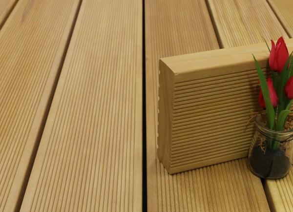 Holzterrasse Garapa, fein gerillt, 45 x 145 bis 6100 mm Dielen, Premium (KD) Holz Bretter für die Terrasse