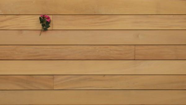 Holzterrasse Garapa, glatt, mit Wechselfalz und stirnseitig Nut / Feder Verbindung, 21 x 125 bis 2750 mm Dielen, Premium (KD) Holz Bretter für die Terrasse