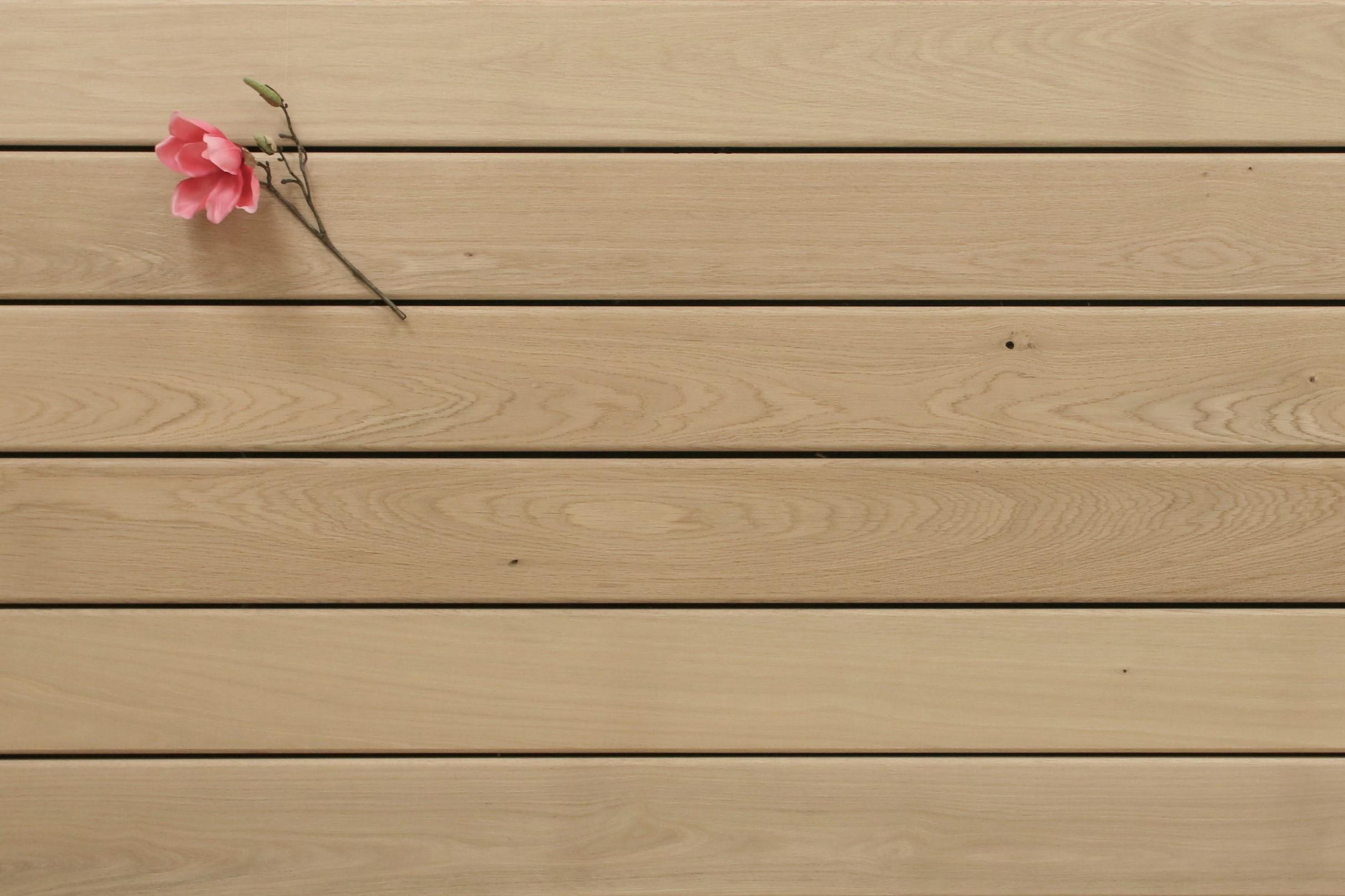 Holzterrasse Eiche, glatt, Sonderanfertigung, 25 x 140 bis 4000 mm Dielen, Holz Bretter für die Terrasse, 10,90 €/lfm