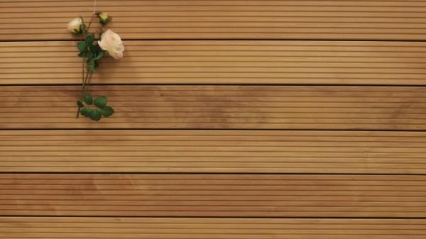 Holzterrasse Garapa, grob genutet, 45 x 145 bis 6100 mm Dielen, Premium (KD) Holz Bretter für die Terrasse