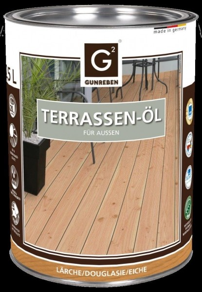 Lärchen Öl von Gunreben 2,5 Liter Holzterrassen Öl, empfohlen für ca. 20-25 m²
